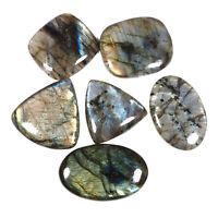 Natural Labradorite 6 Pcs 46mm-54mm Loose Cabochon Gemstones Wholesale Lot