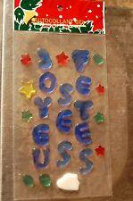 """logo autocollant en gel """"joyeuses fetes """" bleu   decoration  noel  neuf"""