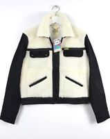 NEW WRANGLER by PETER MAX SHERPA JACKET LINED OFF WHITE / BLACK WOOL XS/S/M/L