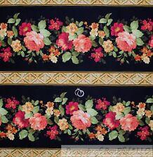 BonEful Fabric FQ Cotton Quilt Black Red Gold Large Border Stripe Rose Flower US