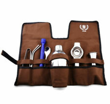 8 pcs Bartender Portable Travel Bar Set Case Drink Wine Tools Roll Bag Mixer Kit