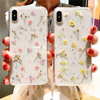 For iPhone X XS MAX XR 8 7 6 Sweet Real Dried Pressed Flowers Trendy Phone Case