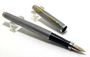 Vintage Parker 75 Cisele Flat Top Sterling Silver Fountain Pen, USA (#CM103)
