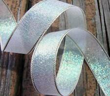 "5 Yds Iridescent Opal Metallic Christmas Icicle Ribbon 3/4""W"