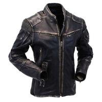 Mens Vintage Biker Style Motorcycle Cafe Racer Distressed Leather Fashion Jacket