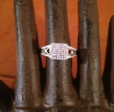 Sterling Silver Natural Diamonds 14k Gold Hearts Engagement Ring Sz 6.5 SUN
