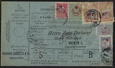TURKEY 1915 PARCEL POSTAL CARD WITH 5 COLOR FRANKING CONSTANTINOPLE TO VIENNA