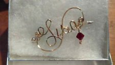 LISA  VINTAGE STYLE Wire Name Pin  Handmade  14K gold filled