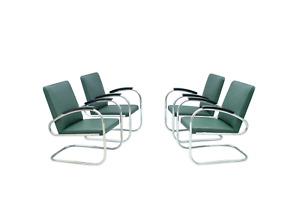 One of Four Mauser RS 7 Steel Tube Lounge Chairs Stahlrohr Sessel Germany 1935
