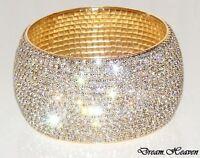 Beautiful 15 Row Gold Diamante Crystal Bangle Diamonte Bracelet