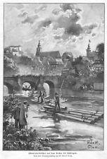Tübingen, Flößer Studenten, Original-Holzstich von 1899
