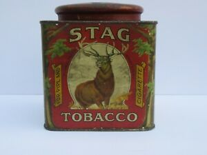 Rare Stag Tobacco Canister Tine (VG Cond)