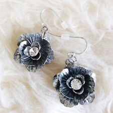 Vintage Womens Anti-Black-Silver Metal Flower Charms Dangle Drop Hookie Earrings