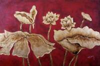 Gold Flowers Red Background Abstract Modern Art 24X36 Oil Painting STRETCHED