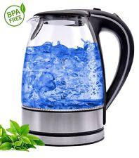Glas Wasserkocher Edelstahl 100% BPA FREI 1,7 Liter Blaue LED Beleuchtung NEU