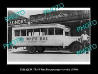 OLD LARGE HISTORIC PHOTO OF TULLY QLD, THE WHITE BUS PASSENGER SERVICE c1940s