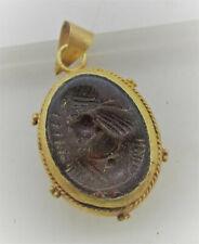 Beautiful Ancient Sasanian Carnelian Stone Set In A High Carat Gold Pendant