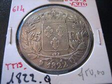 @   5 Francs  Louis XVIII , Buste nu 1822 Q  @