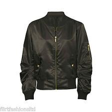 Women Ladies Satin MA1 Bomber Jacket Vintage Summer Coat Flight Army Biker Retro