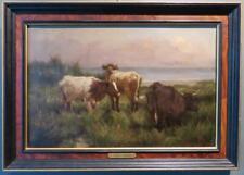 EDGAR WILLS (Exhib 1881-1907) British Antique Oil Painting CATTLE ON SAND DUNES