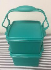 Tupperware Lunch Box Containers With Carry all Handle Teal / Green 7 Cups New