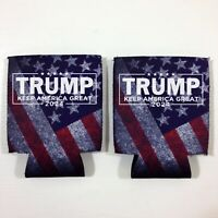 2 Donald TRUMP 2024 Fan Beer Can Cooler Coozie Koozie USA Flag Gift QTY 2