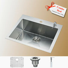 """24"""" High End Top Mount Small Radius Kitchen Bar Sink KTR2421 Free Gifts Combo"""