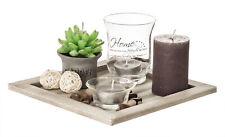 Teelichthalter-Set Kerzen Teller Tablett Tischdeko Wohnung Glas Holz Stein Wachs