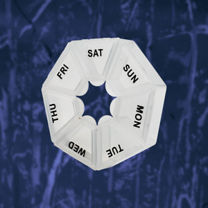 7 Day Heptagon Pill Box Medicine Tablet Dispenser Weekly Organiser Holiday Home