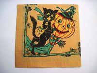 Vintage Halloween Napkin w/ Scary Cat & Pumpkin Scarecrow *