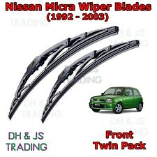 "(92-03) Nissan Micra Mk2 Front Wiper Blades Windscreen 20""18"" Hook Type Wipers"