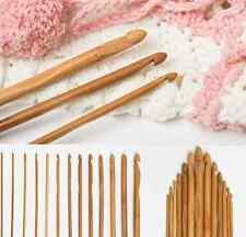 12 Size 15CM Bamboo Handle Crochet Hook Knit Weave Yarn Craft Knitting Needle HS