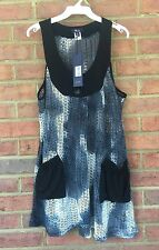 Lily by Firmiana Open Knit Bohemian Sleeveless Dress Long Tunic TopSize Medium