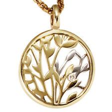 Natürliche Echtschmuck-Halsketten & -Anhänger aus Weißgold mit floralen Themen