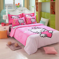 3Hello Kitty Bedding Set Children Cotton Bed Sheets Duvet Cover Bed