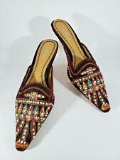 Matisse Womens Brown Algiers Velvet Beaded Front Slip On Backless Heels Size 8