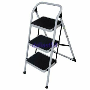 New 3 Steps Ladder Folding Non Slip Safety Tread Heavy Duty Industrial Home Use