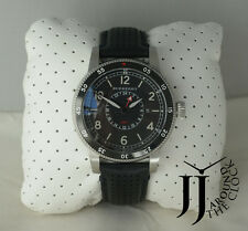 New Burberry The Utilitarian GMT Black Dial Black Leather Mens Watch BU7854