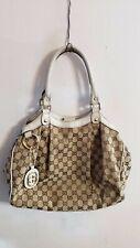 Gucci Sukey GG Beige Canvas Vanilla Leather Tote Purse Bag Handbag Cute