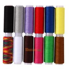 12 pcs Spools Mixed Colors Polyester All Purpose Sewing Quilting Threads Set
