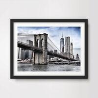 NEW YORK CITY BROOKLYN BRIDGE ART PRINT POSTER Modern Architecture Photography