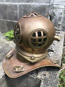 Vintage Brass Copper Mini Diving Helmet Deep Sea Scuba Drivers Helmet Scupture