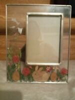 Vintage glass & pewter picture frame, rabbit, dried flowers, Melannco