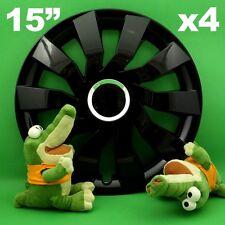 "Hubcaps 15"" Cliff 4 x Wheel Trim Cover BLACK for SKODA Fabia Octavia SUZUKI SX4"