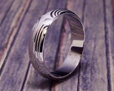 6mm HandCrafted Mokume Print Finish Half Round 14k White Gold Men's Wedding Band