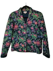 ANOKHI FOR EAST Quilted Jacket Size 14 100% Cotton Floral Micro Button Coat