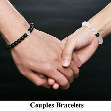 Couples Distance Bracelets Matte Agate & Crystal Bead Matching His & Hers Lovers
