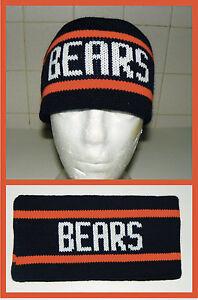 New Chicago Bears vintage 80's knit Headband Ditka sweater winter pom hat
