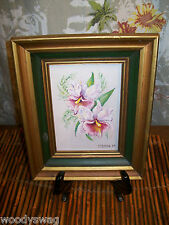 Vintage Painting Flowers Iris Signed McBride 75 Shabby Country
