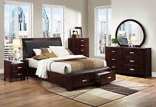 SABRINA 5 pieces Dark Brown Bedroom Set w/ King Size Platform Sleigh Storage Bed